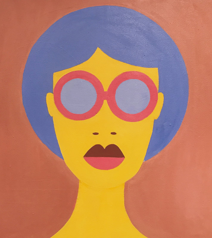 Retro head shot of woman with blue hair and sunglasses
