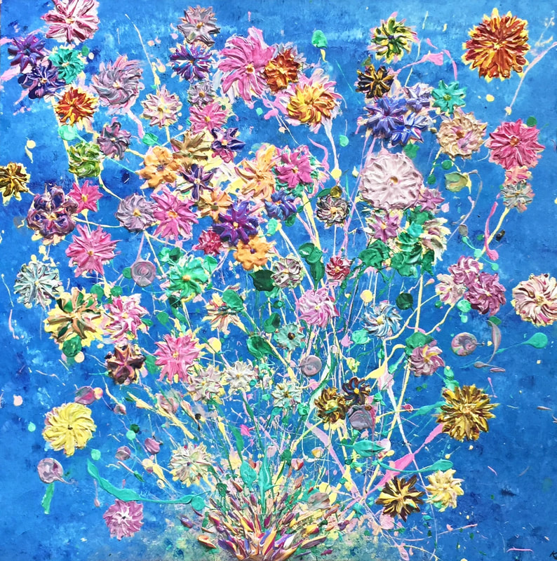 Bright, textured flowers exploding from the canvas