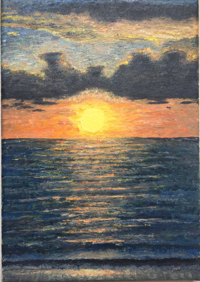 Impressionistic painting of a mauritian sunset