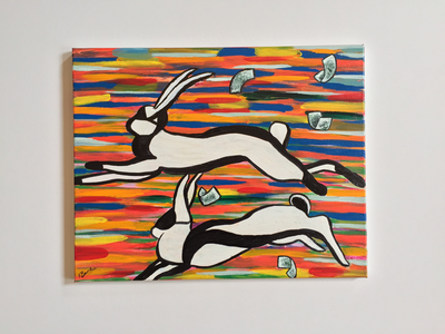 Two rabbits wearing burglars' masks jumping across a blurry coloured background, money blowing in a trail behind them