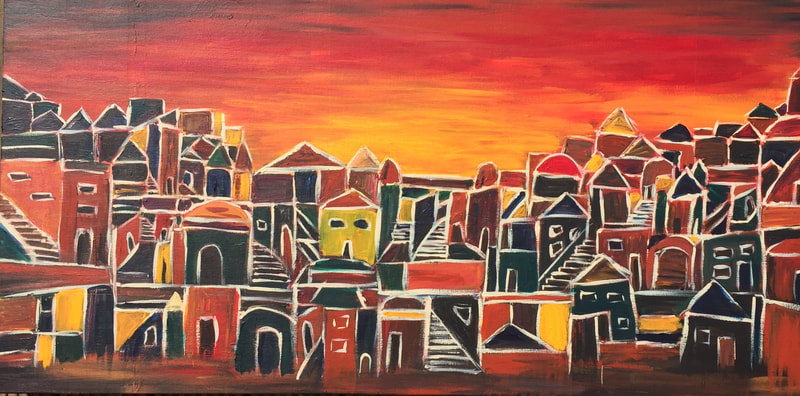 Village at sunset in deep earthy colours painted in a simple format.
